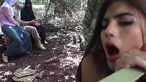 Amazing threesome in military jungle camp