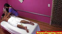 Inked asian handjob massage with masseuse