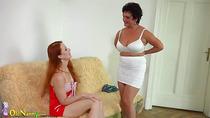 OldNanny Busty BBW lady and lesbian redhead teen
