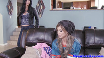 Tattooed lesbo threeway with faketitted babes