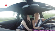 Teen lesbo licked on car