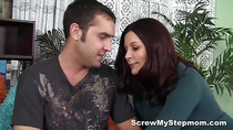 Horny stepmum gets intimate with her young lover
