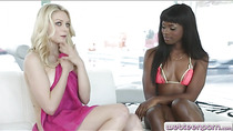 Ebony Ana Foxx and American Allie Rae clit to clit fucking