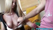 Classy milf tugging a dick in homemade pov