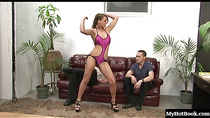 Natasha Vega in one kinky bitch. Her submissive men licks her armpits and