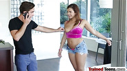 Busty brunette teen Keisha Grey handcuffs and pounded hard