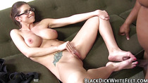 Babe jerks off black cock