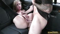 Blondie chick rides a cab and gets her pussy rammed hard as payment