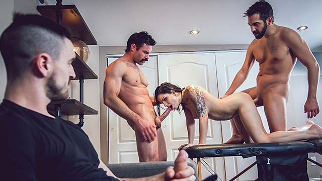 Two guys fucking his girlfriend