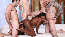 Sexy ebony babe sucking and fucking four big white dicks