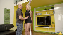 Daddy4K. Boyfriend went for pizza so his perky seduces teen blonde