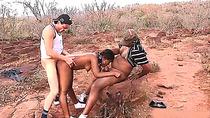 cute african teen gets rough outdoor interraical big cock fucked