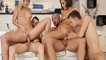 Vinna and Annabella taking a cock ride on top of the guys bi cocks