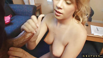 Busty blonde Stepsister stroking cock till he cums