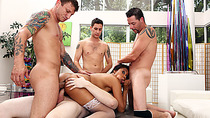 Hot black babe double penetrated by four white dudes