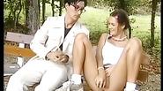 Teen school girl seduce older guy in park