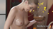 Blonde masseuse licks Asian babe