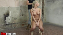Busty Daisy Lee getting vibed while being chair tied