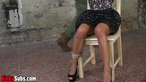 Petite teen Eveline Dellai tied to a chair and vibed