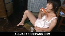 Japanese teen Aoba Itou caught toying her pussy in the kitchen
