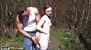 Hot redhead fucking in a park
