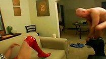 Naughty femdom gets nailed on the sofa