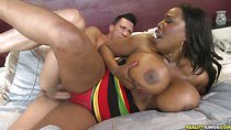 Melisa gets her pussy pounded as her huge melons bounce.