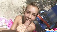 Nicole gives a blowjob and penetrated outdoors