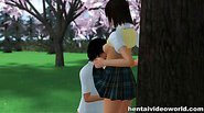 Raunchy hentai outdoor fucking from hot couple