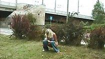 Slutty peeing in bushes