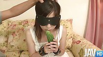 Teen Shizuku is blindfolded and feed food before filling her mouth with two dicks