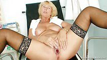 Blonde milf Greta big natural tits and uniform