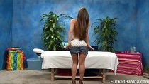 18 year old Abby gets fucked hard from behind by her massage therapist