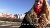 Czech girl with perfect tits is paid for a public suck & fuck