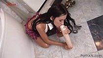 Teen slut toys her ass with a mega dildo