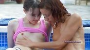 Crazy lesbian girls by the pool
