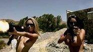 Naked busty babes gun shooting battle