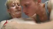 Blonde ugly grandma fucks young guy