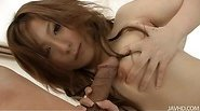 Perky titty babe Miku Haruno on her knees with a big cock stuffed inside sucking like mad