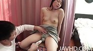 Mayu Kudo  finds her hairy pussy filled with a hard dick and pounded until she cums hard