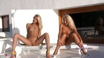 Two blonde candies outdoor