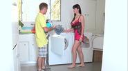 Stepmom fucks teen boyfriend for laundry