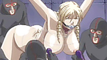 Chained hentai bigtits with muzzle brutally gangbanged and facial cumshot