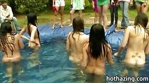 Amateur girls homemade pool challenge