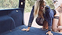 Hot teen stewardess Christen Courtney pounded in the car