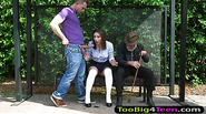 Schoolgirl fucked while an old man watches at the bus stop
