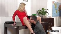 Sensual sweetie is geeting peed on and squirts wet cunt