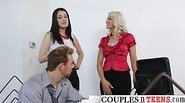 Dude in a Love Sandwich with Two Horny Chicks
