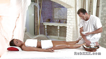 Babe push her ass back on masseurs cock