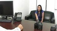 Blackhaired amateur at porn audition